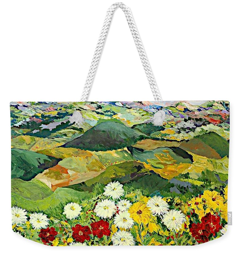 Landscape Weekender Tote Bag featuring the painting Bewitching Twilight by Allan P Friedlander