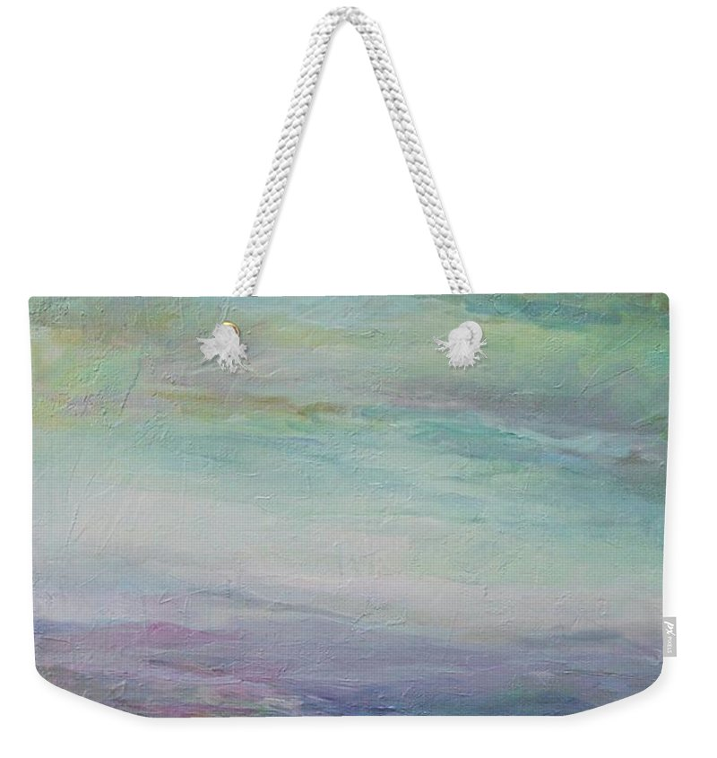 Landscape Weekender Tote Bag featuring the painting Beyond The Distant Hills by Mary Wolf