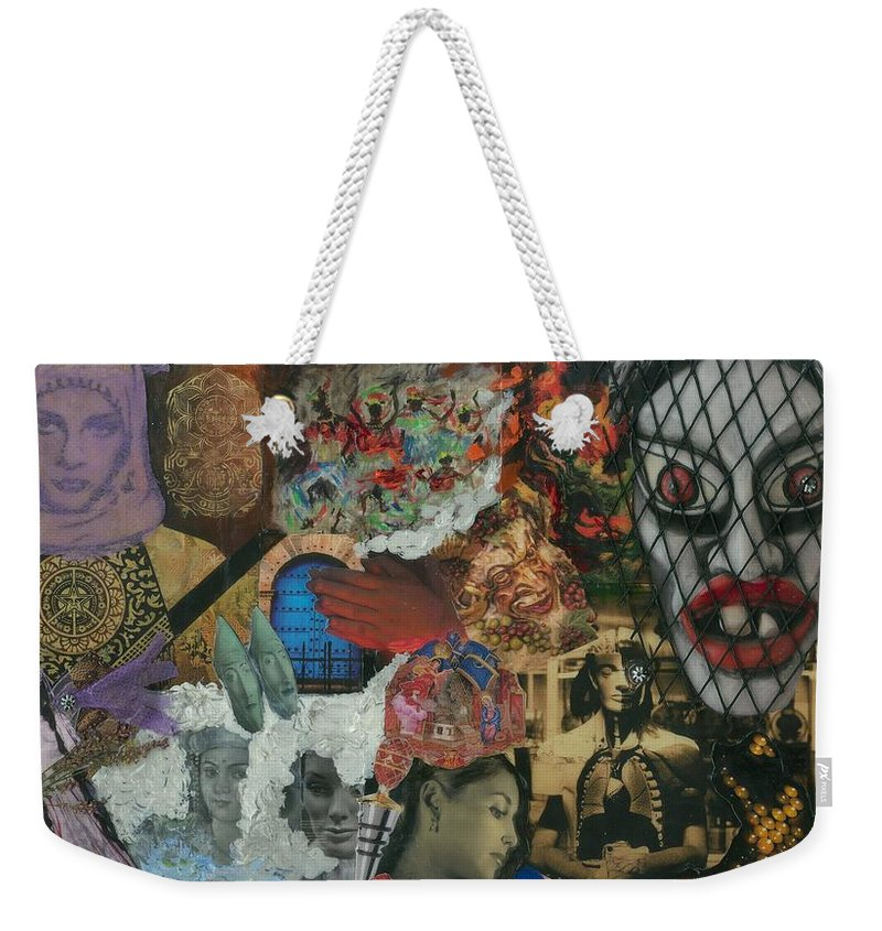 Women Weekender Tote Bag featuring the mixed media Beyond The Mask by Paula Emery