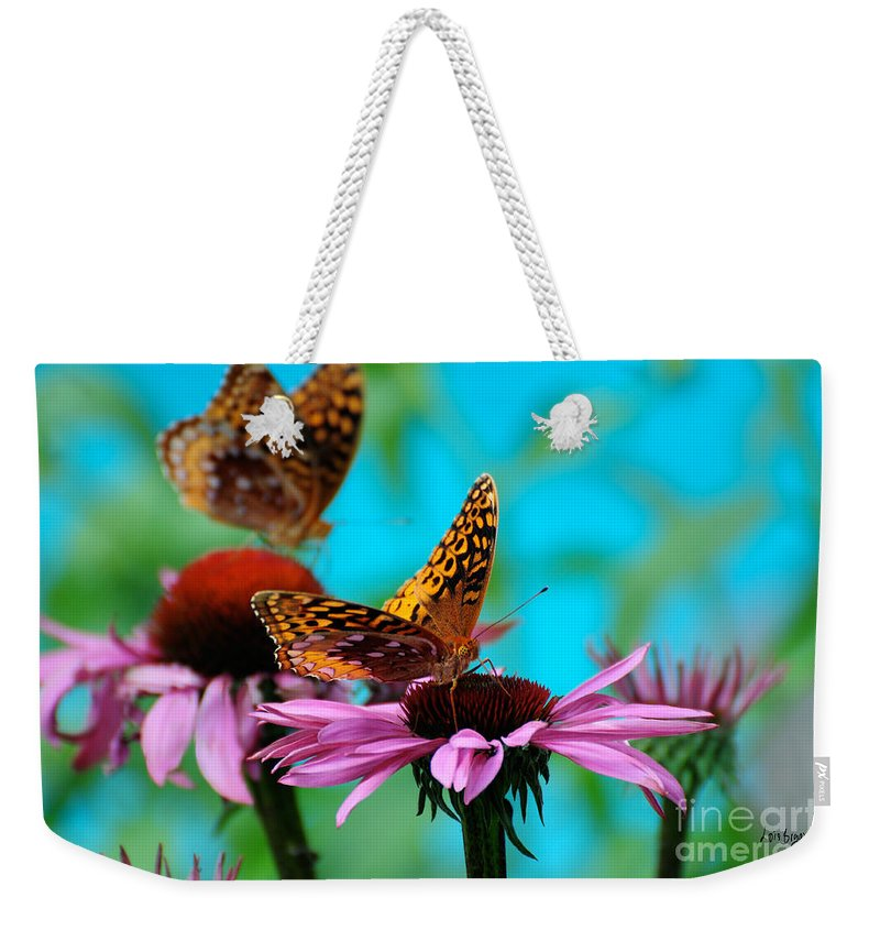 Butterfly Weekender Tote Bag featuring the photograph Bff Best Friend Flutterbyes by Lois Bryan