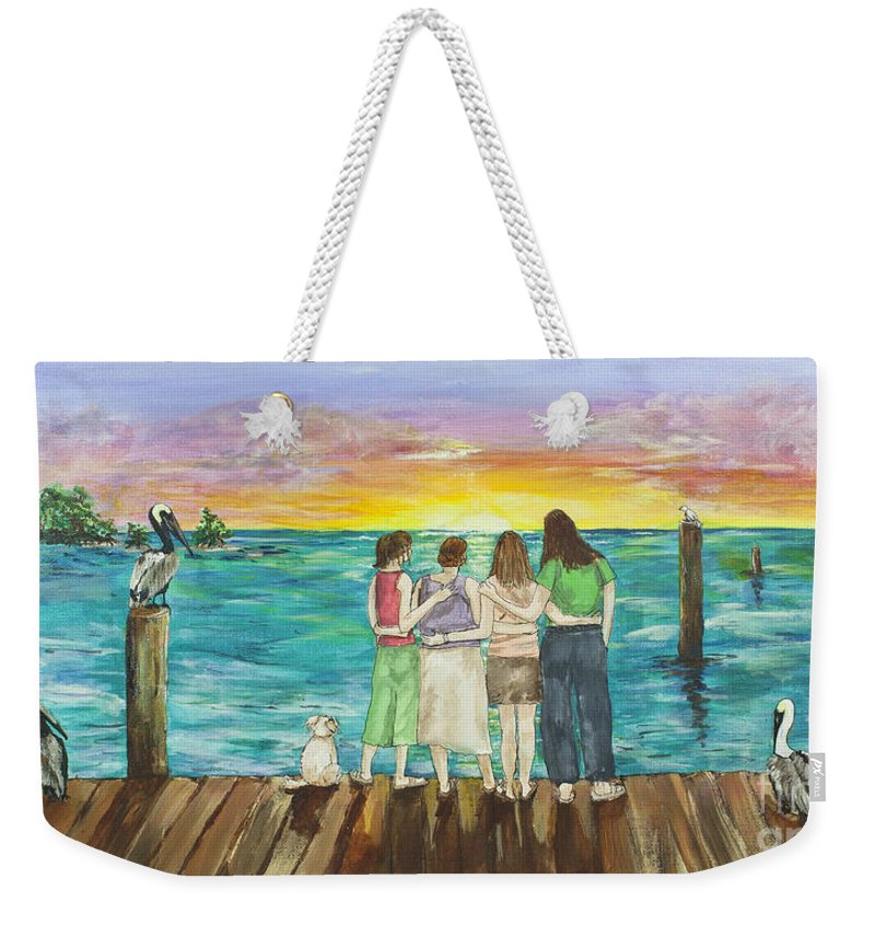 Florida Weekender Tote Bag featuring the painting Bff Morning by Janis Lee Colon