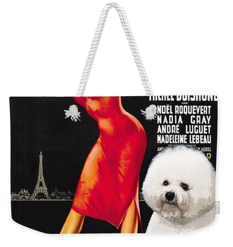 Dog Weekender Tote Bag featuring the painting Bichon Frise Art - Una Parigina Movie Poster by Sandra Sij