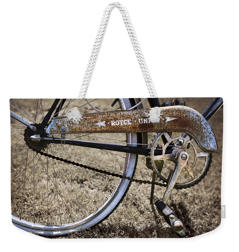 Appalachia Weekender Tote Bag featuring the photograph Bicycle Gears by Debra and Dave Vanderlaan
