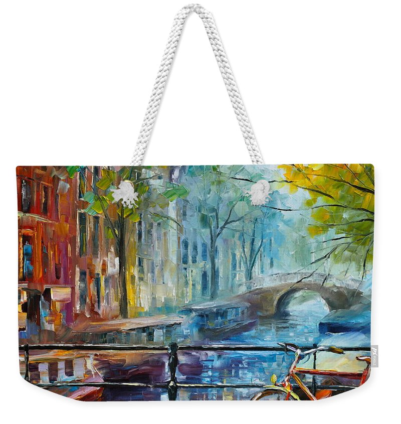 Amsterdam Weekender Tote Bag featuring the painting Bicycle in Amsterdam by Leonid Afremov