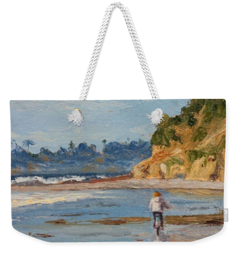 California Weekender Tote Bag featuring the painting Bicycle Ride On Beach by Inka Zamoyska