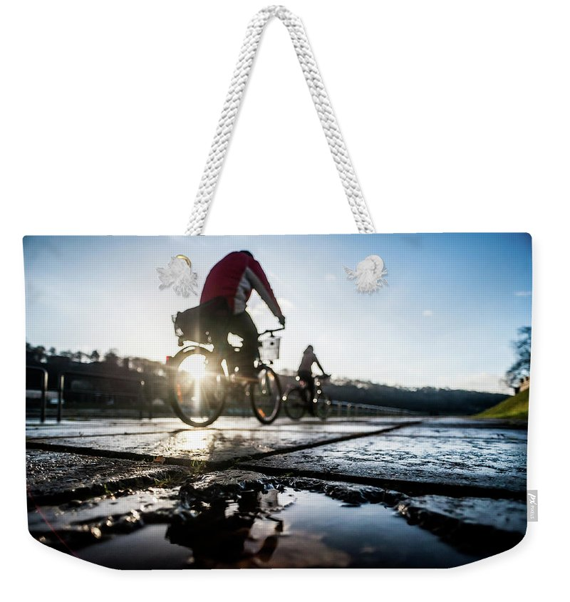 People Weekender Tote Bag featuring the photograph Bicycles by A. Aleksandravicius