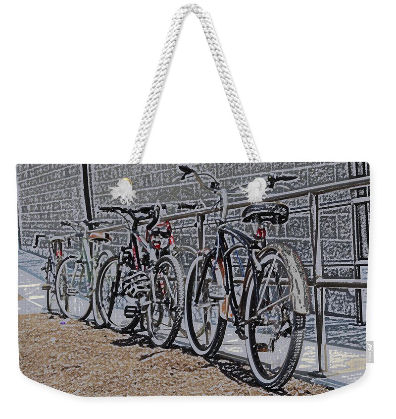 Colored Pencil Weekender Tote Bag featuring the digital art Bicycles On A Rail by Joyce Wasser