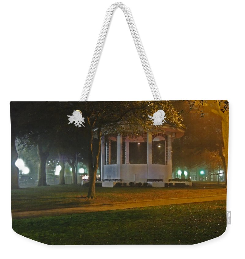 Photographic Print Weekender Tote Bag featuring the photograph Bienville Square Grandstand In A Foggy Mist by Marian Bell