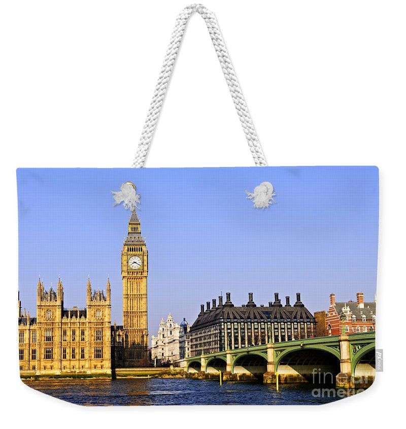 Big Weekender Tote Bag featuring the photograph Big Ben And Westminster Bridge by Elena Elisseeva