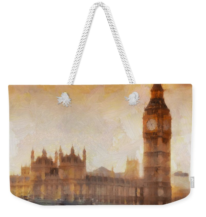 London Weekender Tote Bag featuring the painting Big Ben At Dusk by Pixel Chimp