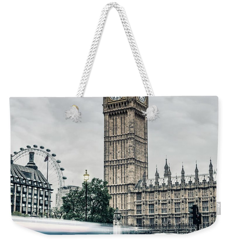 Gothic Style Weekender Tote Bag featuring the photograph Big Ben At Dusk With Passing Traffic - by Alpamayophoto