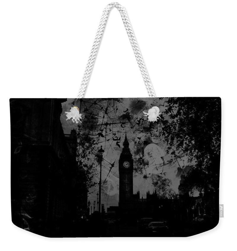 Big Ben Weekender Tote Bag featuring the digital art Big Ben Street Black And White by Marina McLain
