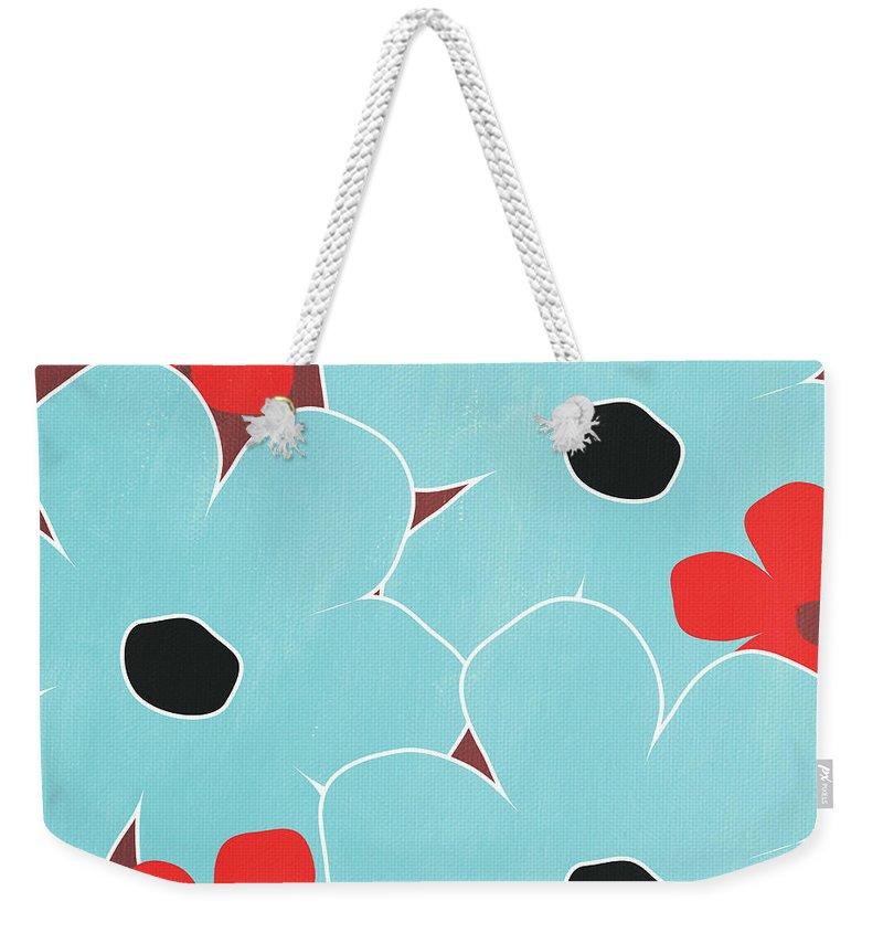 Flowers Weekender Tote Bag featuring the mixed media Big Blue Flowers by Linda Woods