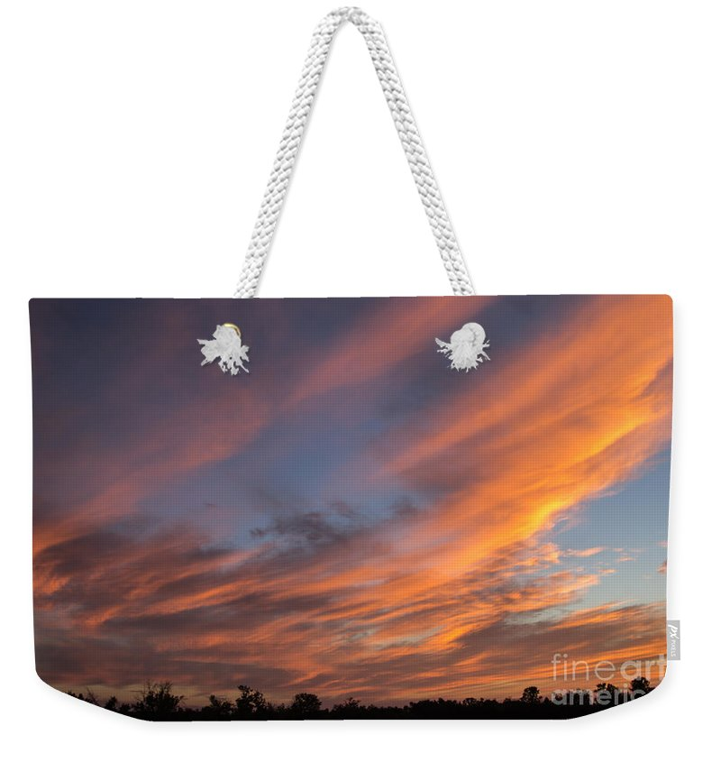 Orange Sunset Weekender Tote Bag featuring the photograph Big Bold Sunset by Alanna DPhoto