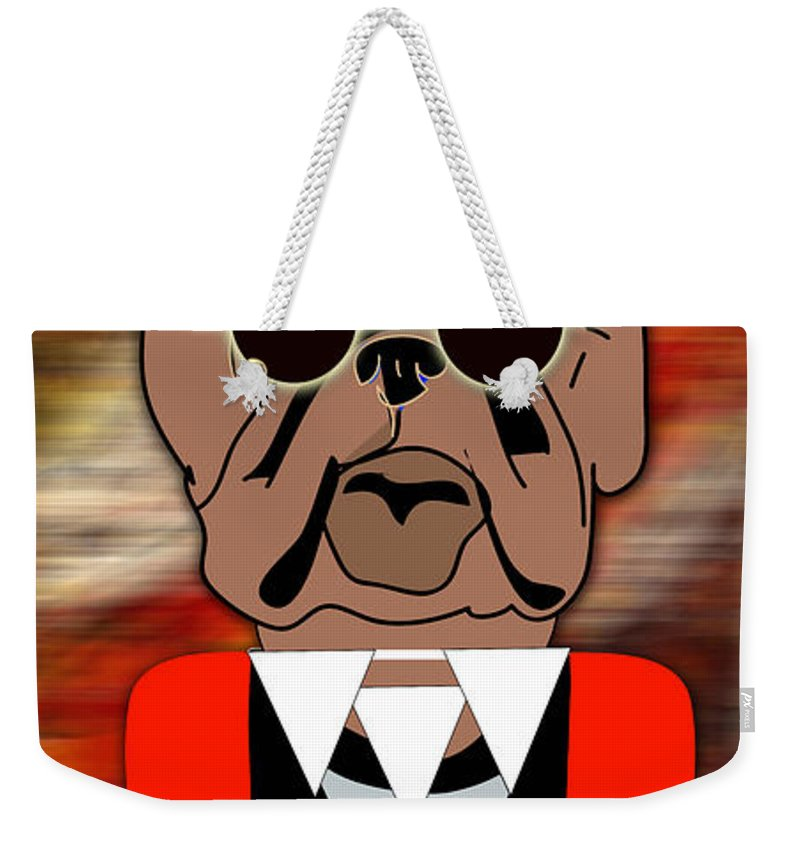 Bull Dog Weekender Tote Bag featuring the mixed media Big Bull Dog by Marvin Blaine
