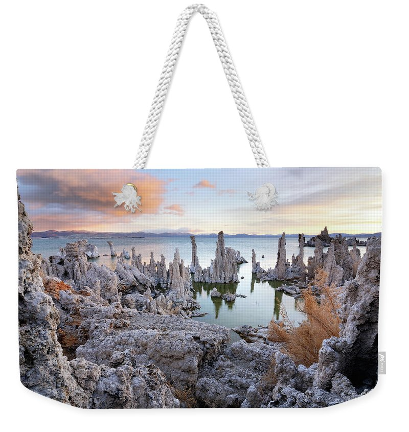 Water's Edge Weekender Tote Bag featuring the photograph Big Cloud Above Tufas On Mono Lake by Rezus