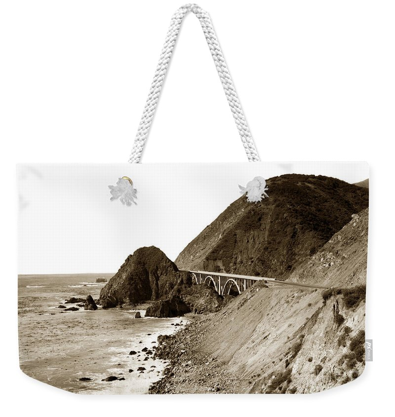 Big Creek Weekender Tote Bag featuring the photograph Big Creek Bridge Double Arched Concrete Bridge On Highway 1. About 40 Miles South Of Monterey 1935 by California Views Archives Mr Pat Hathaway Archives