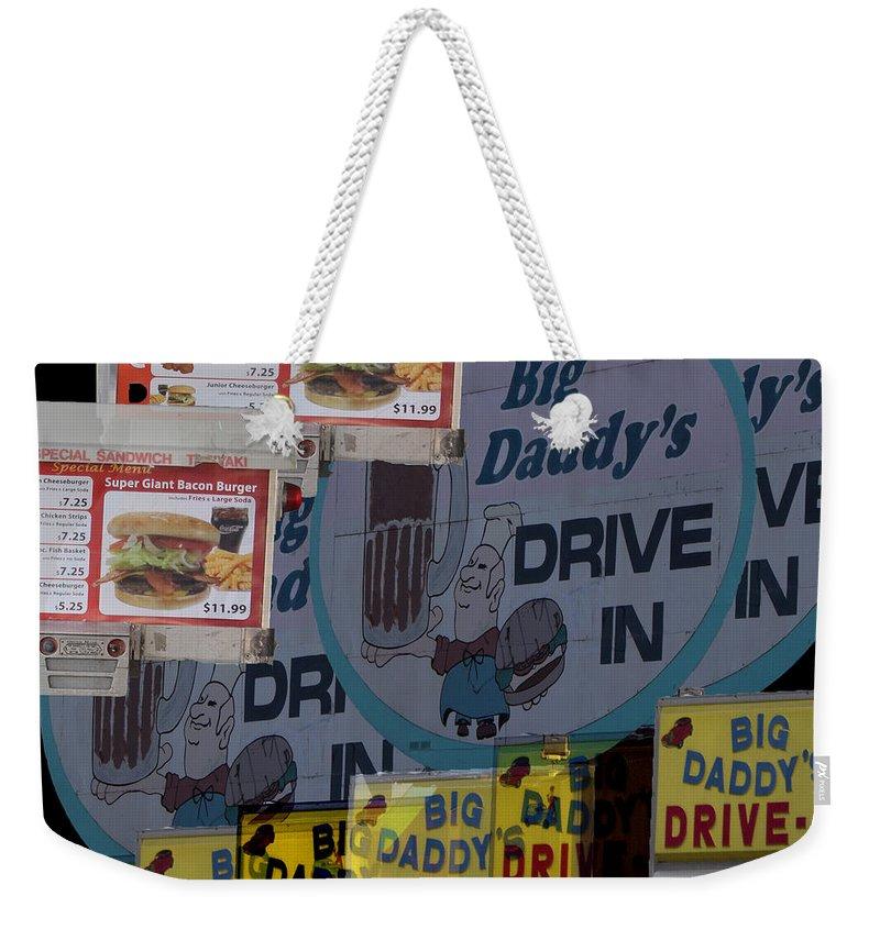 Weekender Tote Bag featuring the digital art Big Daddy's Drive Inn Auburn Wa by Cathy Anderson