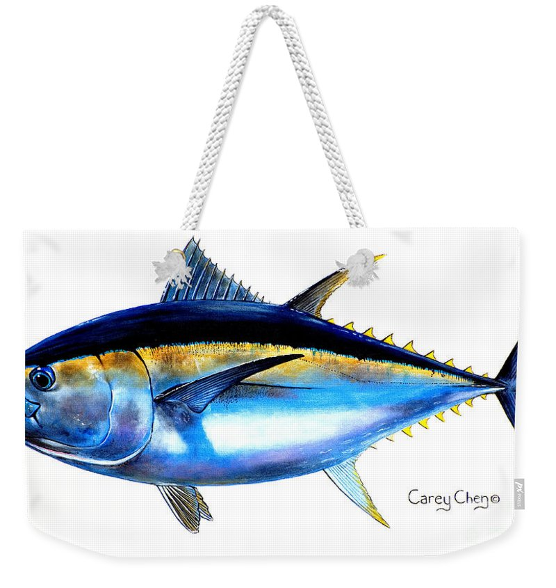 Tuna Weekender Tote Bag featuring the painting Big Eye Tuna by Carey Chen