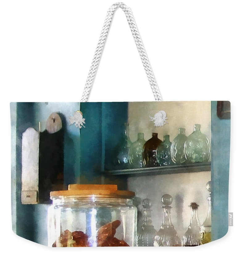 Pretzel Weekender Tote Bag featuring the photograph Big Jar Of Pretzels by Susan Savad