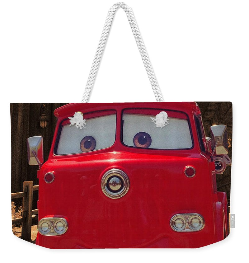 Disney California Adventure Weekender Tote Bag featuring the photograph Big Red Carsland by Tommy Anderson