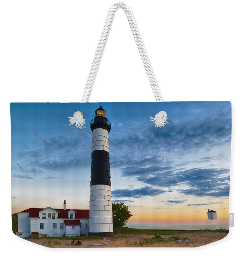 big sable point lighthouse sunset weekender tote bag for sale by sebastian musial. Black Bedroom Furniture Sets. Home Design Ideas