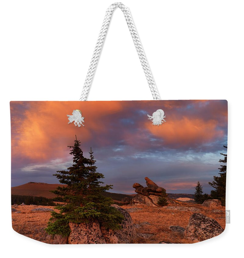 Beautiful Weekender Tote Bag featuring the photograph Bighorn Mountains Sunrise by Leland D Howard