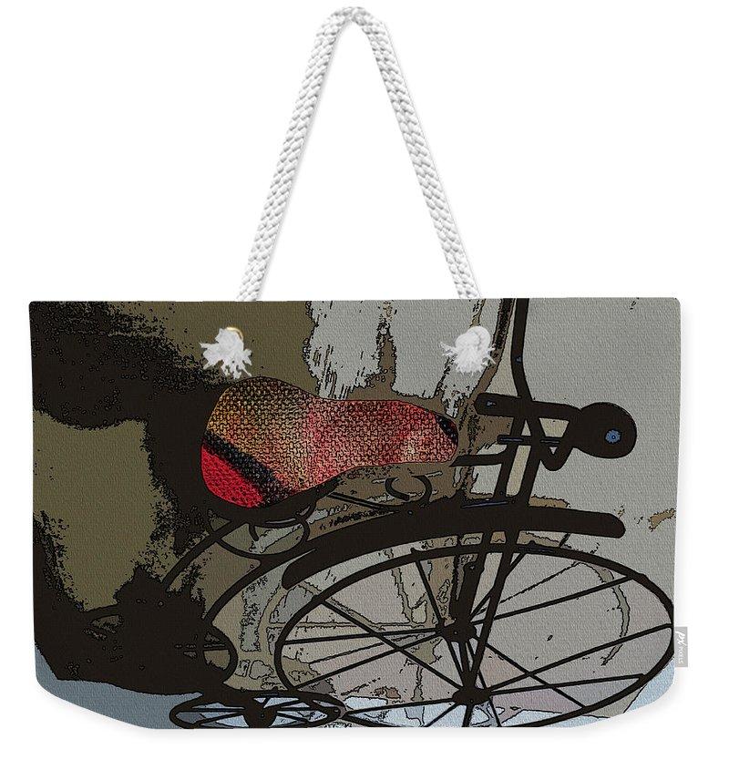 Bike Weekender Tote Bag featuring the mixed media Bike Seat View by Ecinja