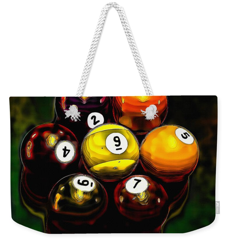 Billiards Weekender Tote Bag featuring the mixed media Billiards Art - Your Break 6 by Lesa Fine