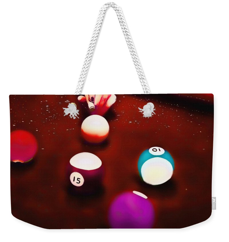 Billiards Weekender Tote Bag featuring the mixed media Billiards Art - Your Break Red by Lesa Fine