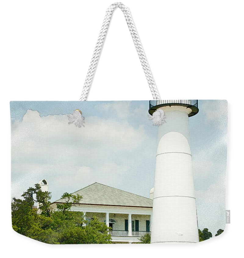Lighthouse Weekender Tote Bag featuring the photograph Biloxi Lighthouse Sketch Photo by Joan McCool