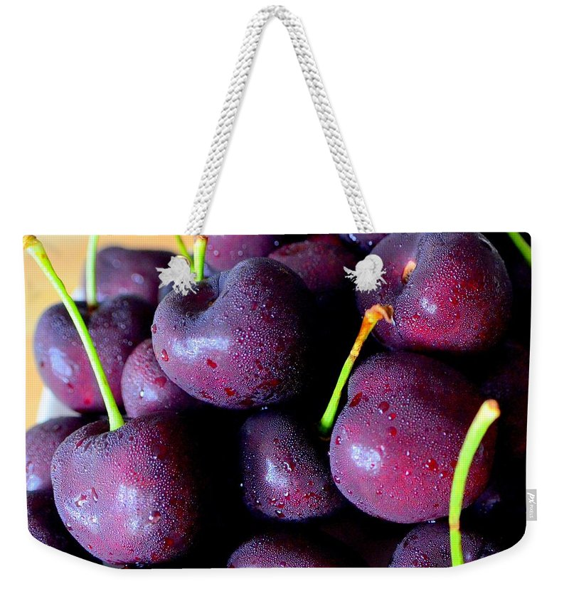 Bing Weekender Tote Bag featuring the photograph Bing Cherries by Mary Deal