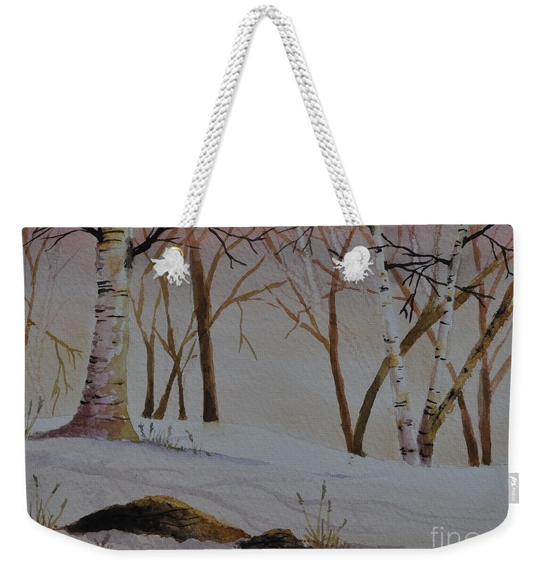 Birches Weekender Tote Bag featuring the painting Birch Drift by Sally Rice