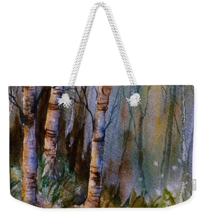 Birch Shadows Weekender Tote Bag featuring the painting Birch Shadows by Teresa Ascone