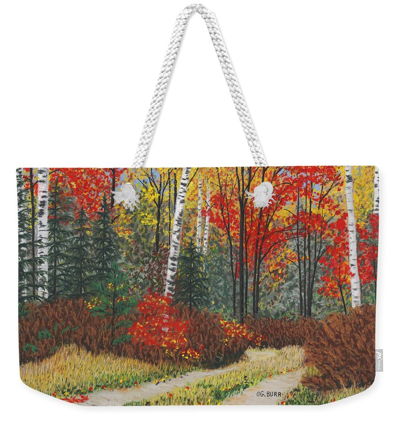Landscape Weekender Tote Bag featuring the pastel Birch Trail by George Burr