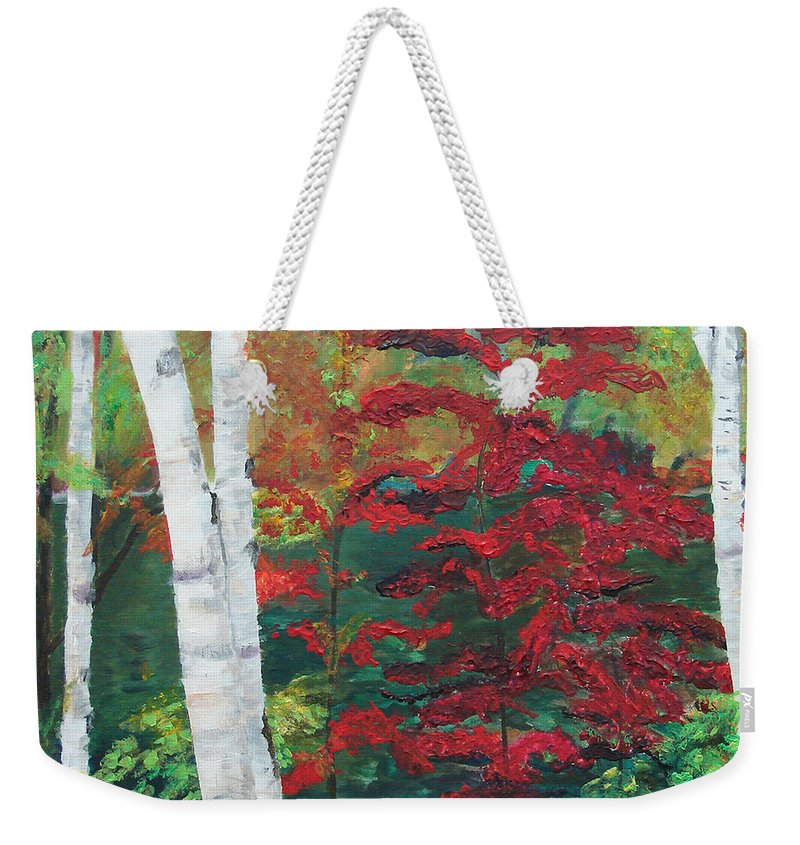 Forest Weekender Tote Bag featuring the painting Birch Trees in Red by Frankie Picasso