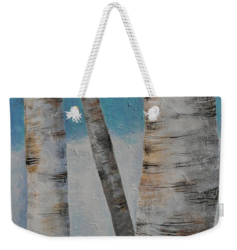 Birches Weekender Tote Bag featuring the painting Birch Trees by Sally Rice