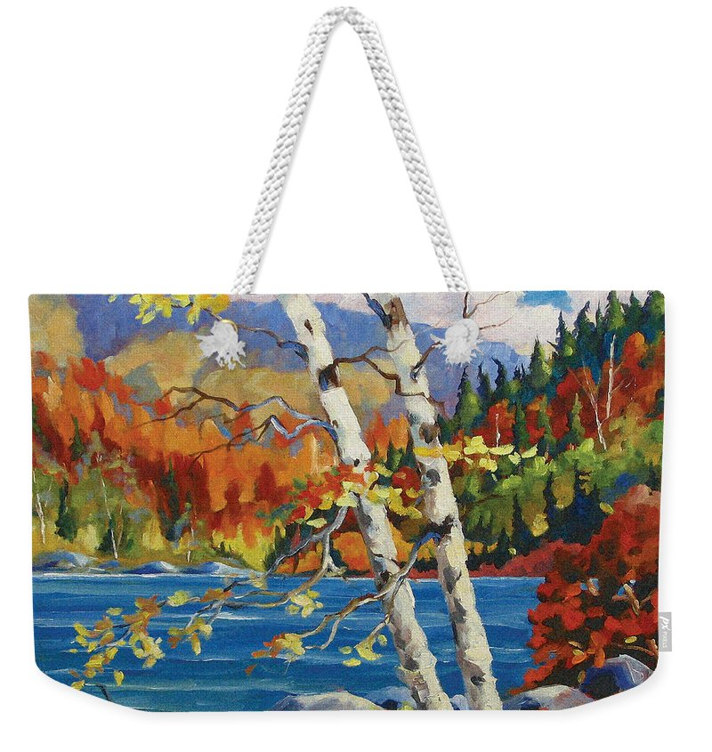 Art Weekender Tote Bag featuring the painting Birches By The Lake by Richard T Pranke