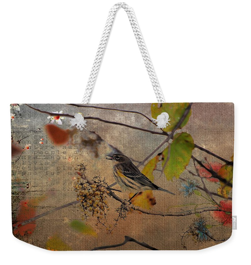 Bird Weekender Tote Bag featuring the photograph Bird And Berries by Todd Hostetter