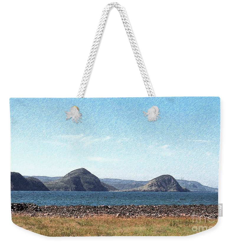 Bird Blind On The Beach Sketch Weekender Tote Bag featuring the photograph Bird Blind On The Beach Sketch by Barbara Griffin