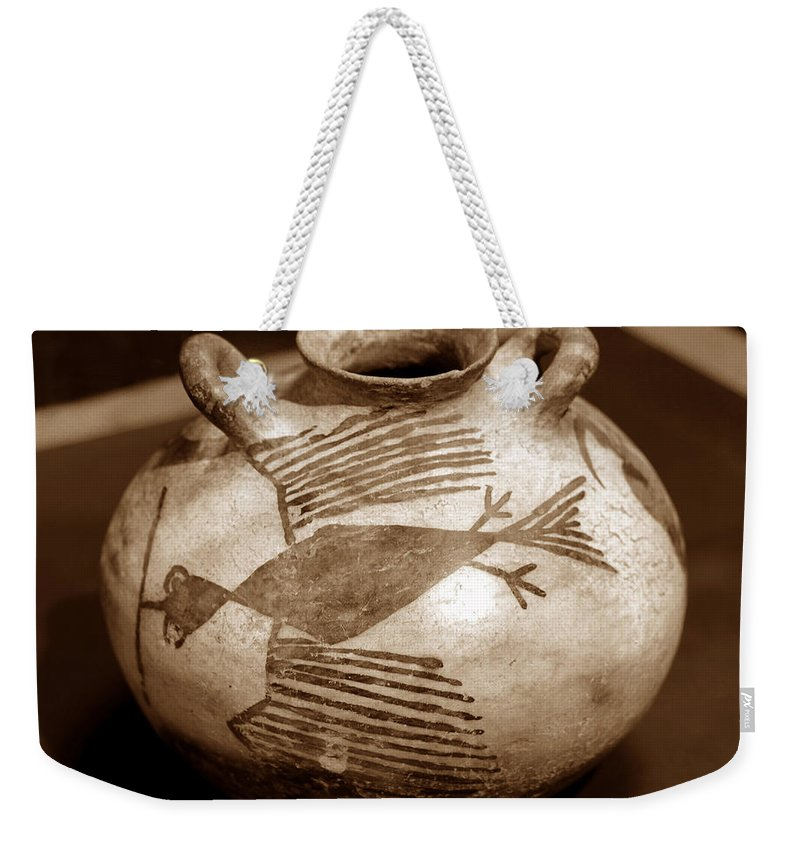 Anasazi Bird Canteen Weekender Tote Bag featuring the photograph Bird Canteen by David Lee Thompson