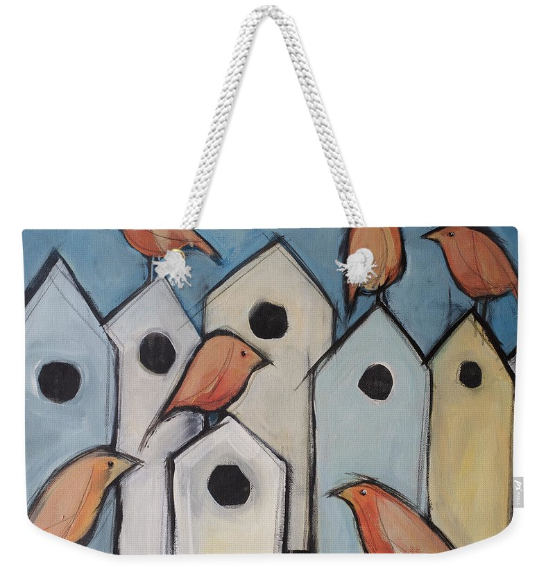 Bird Weekender Tote Bag featuring the painting Bird Condo Association by Tim Nyberg