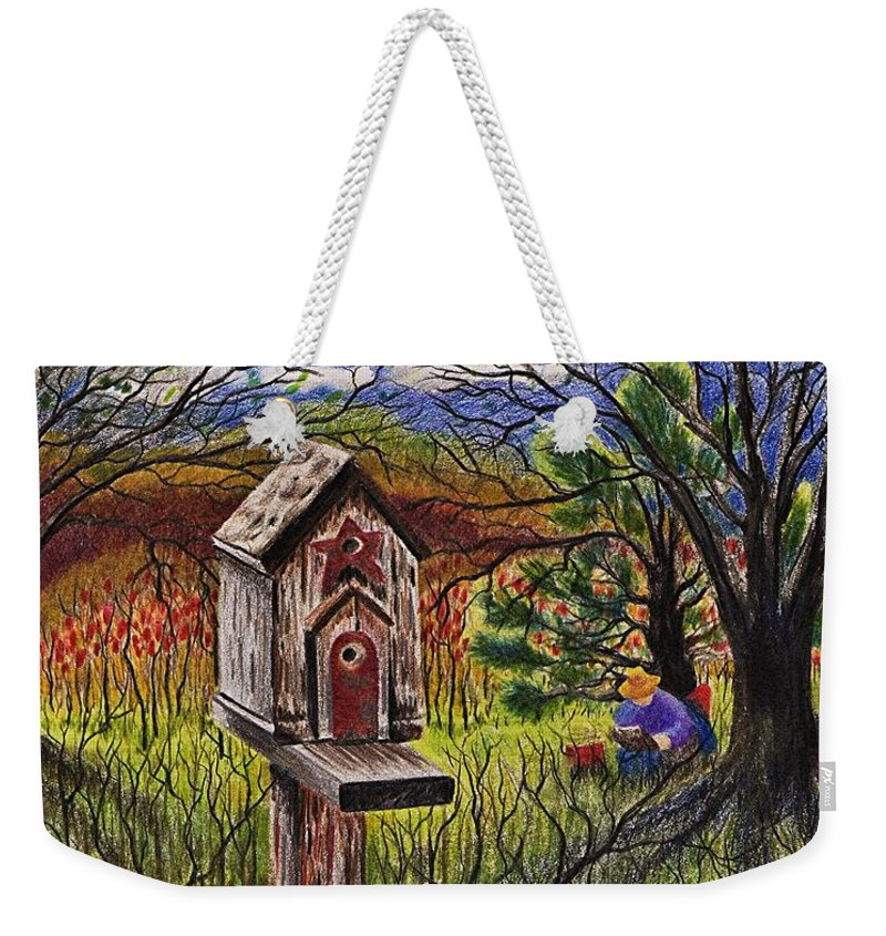 Bird House Weekender Tote Bag featuring the drawing Bird House by Joy Bradley