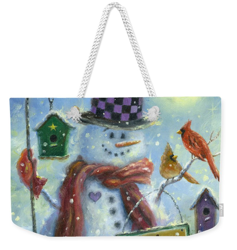 Snowman Weekender Tote Bag featuring the painting Bird Lover Snowman by Vickie Wade