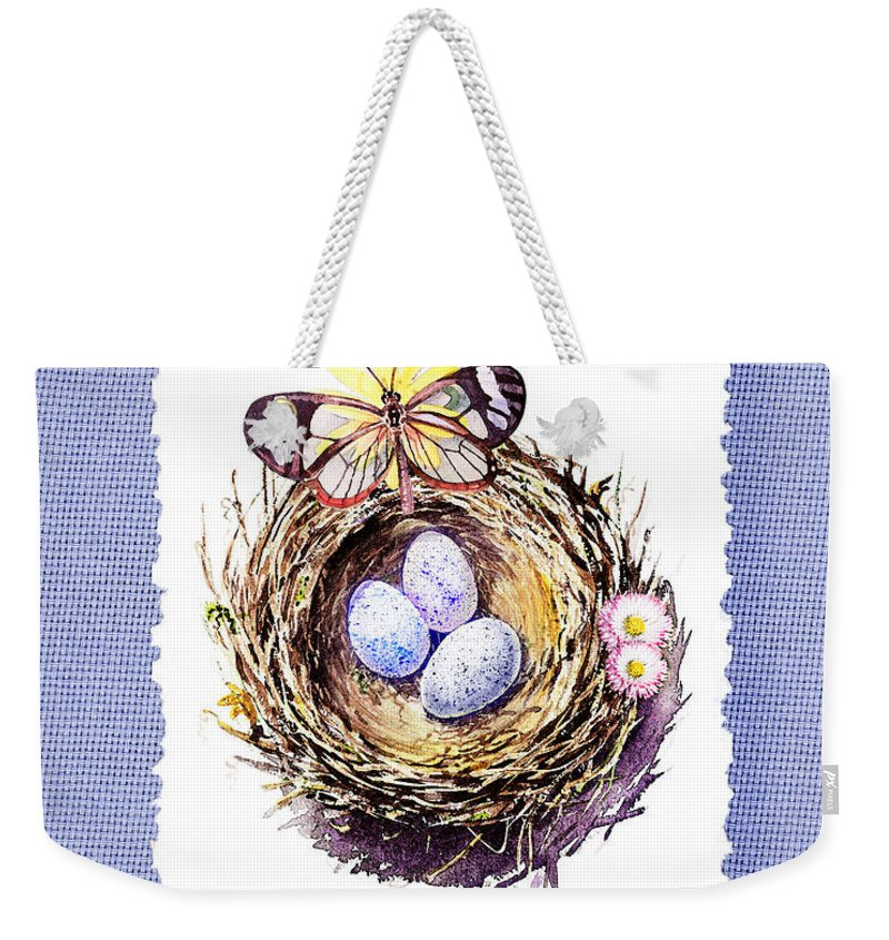 Bird Nest Weekender Tote Bag featuring the painting Bird Nest With Daisies Eggs And Butterfly by Irina Sztukowski