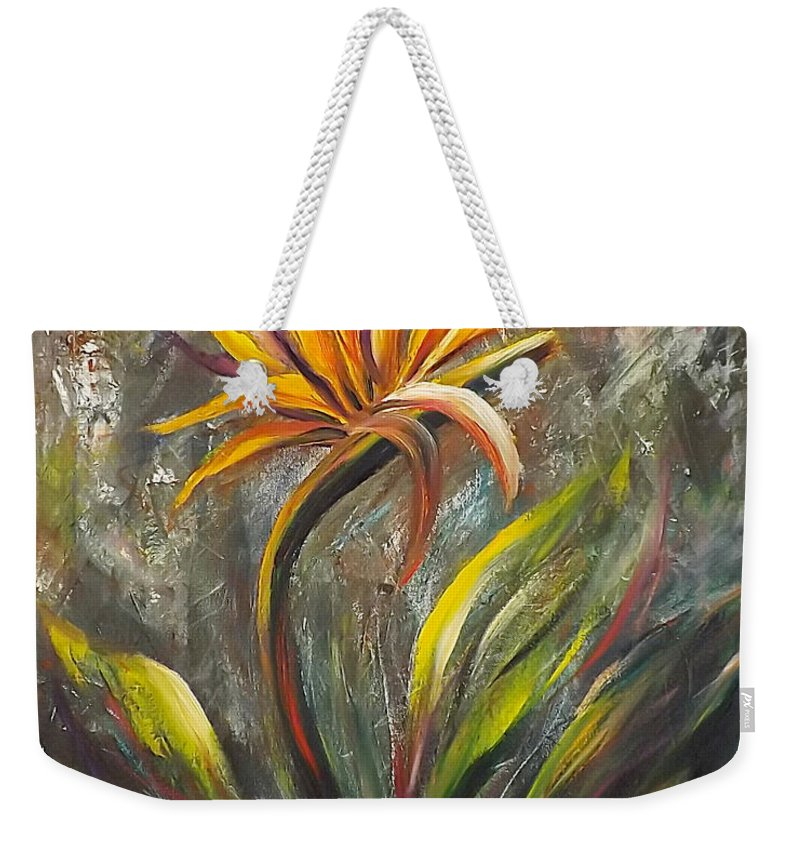 Florals Weekender Tote Bag featuring the painting Bird Of Paradise 63 by Gina De Gorna