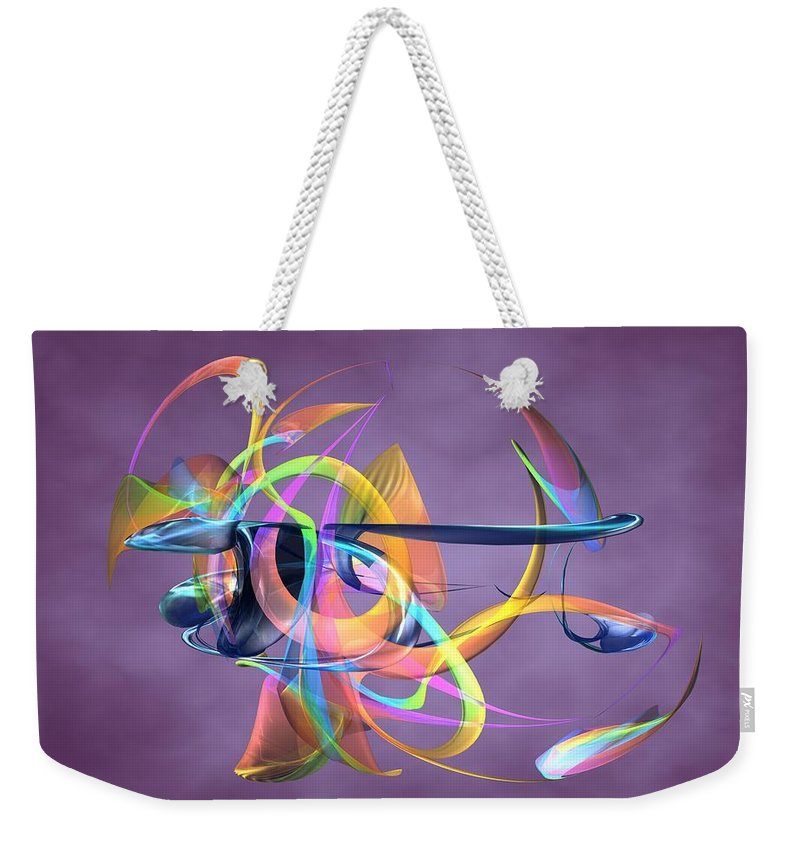 Abstract Art Canvas Prints Weekender Tote Bag featuring the digital art Bird-of-paradise - Abstract by Louis Ferreira