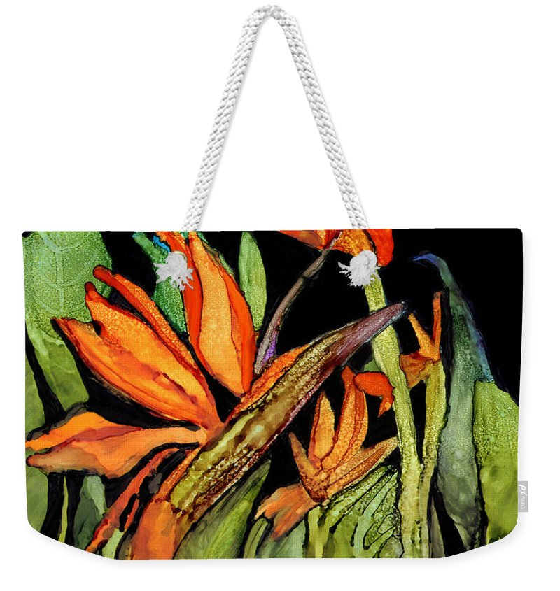 Floral Weekender Tote Bag featuring the painting Bird Of Paradise by Elaine Hodges
