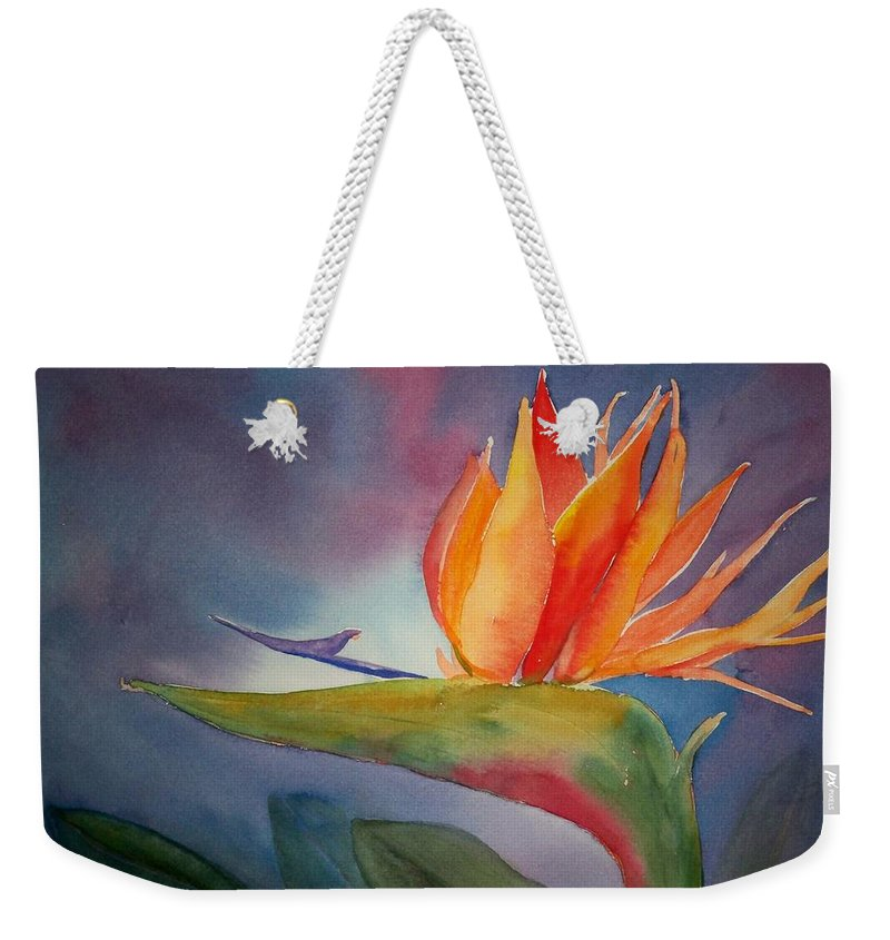 Flower Painting Weekender Tote Bag featuring the painting Bird Of Paradise by Sue Kemp