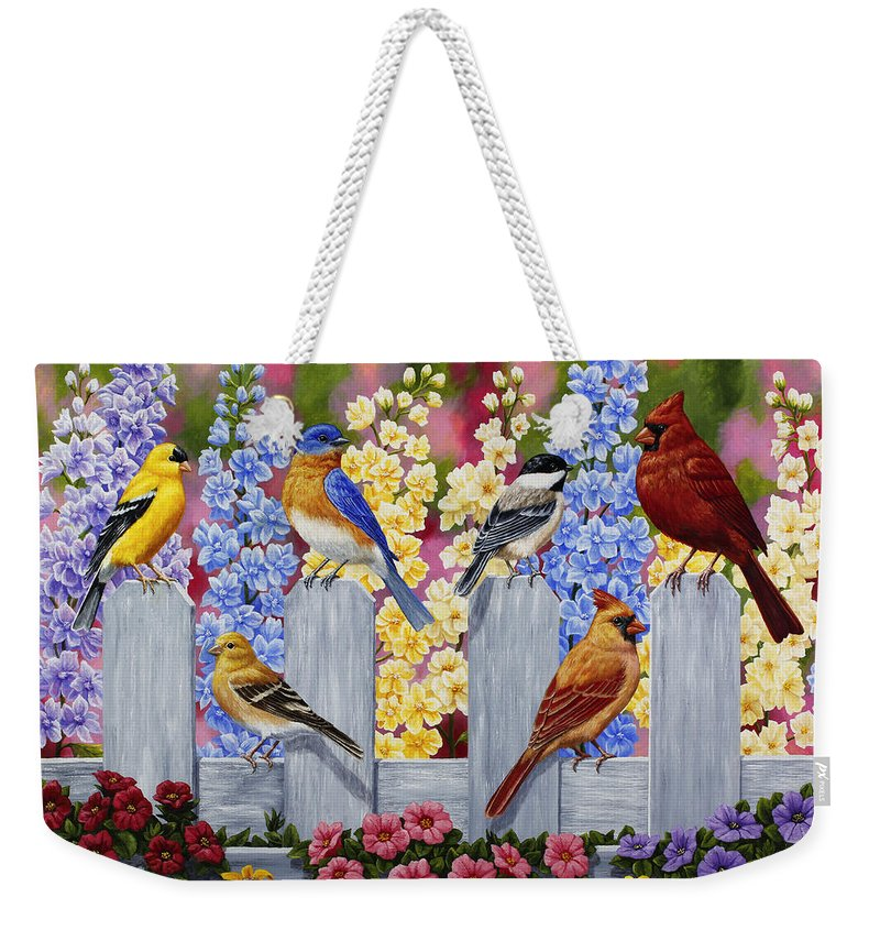 Birds Weekender Tote Bag featuring the painting Bird Painting - Spring Garden Party by Crista Forest